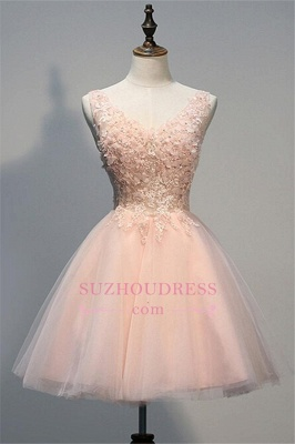 Appliques V-Neck Short Crystal A-line Sleeveless Tulle Homecoming Dress_1