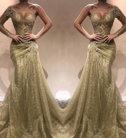 Gorgeous Sleeveless Lace Appliques Prom Dresses | 2020 Green Slit Evening Gowns BC0893_12