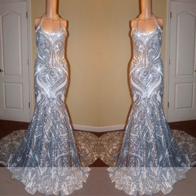 Gorgeous Halter Scoop Prom Dresses   2020 Mermaid Long Sequins Evening Gowns_2