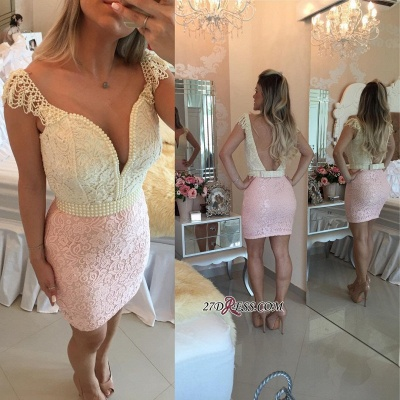 Mini Cap-Sleeve Bow Pearls Lace Bodycon Delicate Short Homecoming Dress_4
