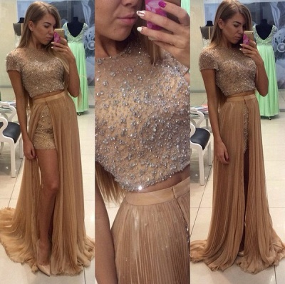Stunning Two Pieces Prom Dresses 2020 Beadings Short Sleeve Split Party Gowns_3