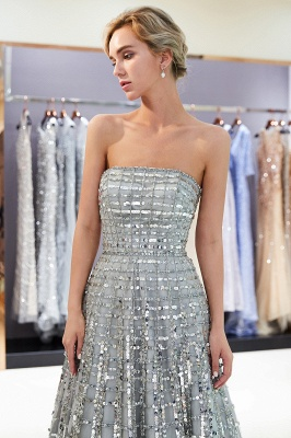 Gorgeous Strapless Sequins Evening Dress | Grey Long Prom Gowns On Sale_5