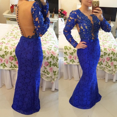 Stunning Long Sleeve Lace Evening Dress 2020 Pearls Mermaid Prom Gown BT0 BA6734_6