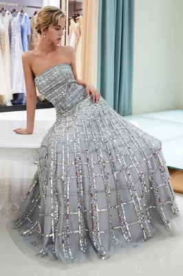 Gorgeous Strapless Sequins Evening Dress | Grey Long Prom Gowns On Sale_2