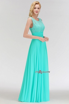 Chiffon Sleeveless Gorgeous Lace Floor-Length Scoop Long Bridesmaid Dress_2