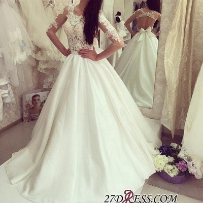 A-line Bow Sweep-train Elegant Half-sleeves Sweep-train Wedding Dress_1