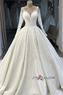Appliques Long-Sleeves Alluring Scoop Ball-Gown Wedding Dresses_4