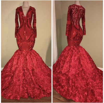 Glamorous Red Long Sleeve Sequins Prom Dress | 2020 Mermaid Bottom Flowers Evening Gowns BC1636_2