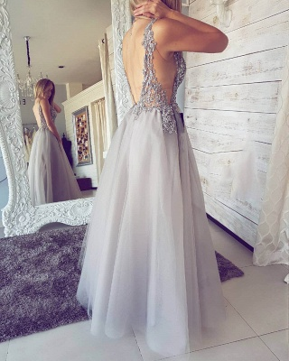 Elegant V-Neck Sleeveless Evening Dress | 2020 Tulle Prom Dress With Slit_3