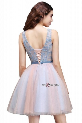 Fairy Sky-Blue V-Neck Puffy Flowers-Beaded Homecoming Dresses_5