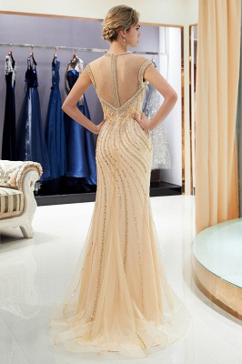 Glamorous Off-the-Shoulder Mermaid Gold Prom Dresses | 2021 Long Prom Gowns With Crystals_2