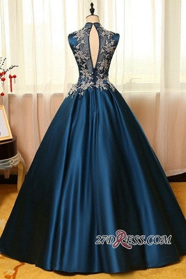 Lace Puffy Dresses Neck Dark Appliques Sleeveless Prom High Evening Dresses_4