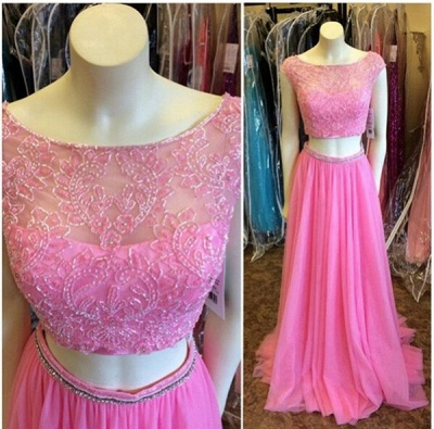 Newest Pink Two Piece 2020 Prom Dress Lace Beadings Cap Sleeve_3