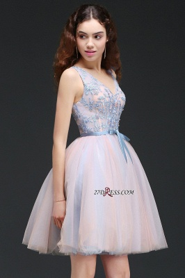 Fairy Sky-Blue V-Neck Puffy Flowers-Beaded Homecoming Dresses_4