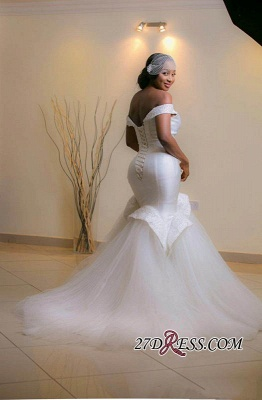 2020 Tulle Sweep-Train Off-the-shoulder Glamorous Lace-up Beads White Mermaid Wedding Dress_2