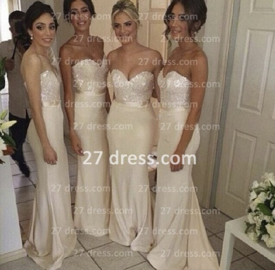 Gorgeous Sequined sheath prom dress satin newest style bridesmaid gowns_3