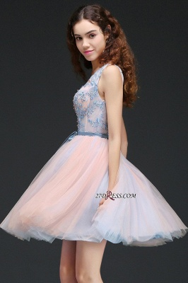 Fairy Sky-Blue V-Neck Puffy Flowers-Beaded Homecoming Dresses_3