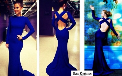 Sexy De Soiree Robe Mermaid Evening Dress 2020 High Neck Criss Cross Backless Royal Blue Prom Dresses with long sleeve_2