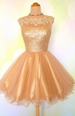 Gold Sequins Appliques Shiny Short Puffy Homecoming Dresses_2