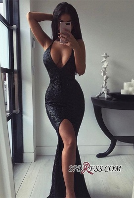 Sexy Sequins Mermaid Prom Dress | 2020 Black Evening Party Dress With Slit_2