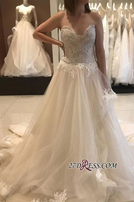 Luxury Applique Lace Tiered Backless Strapless A-line Sweetheart Wedding Dress_3