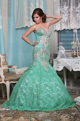 Beaded Green Lace Dresses Wholesale Middle East of Evenings Sweetheart Mermaid Floor-length Gowns_2
