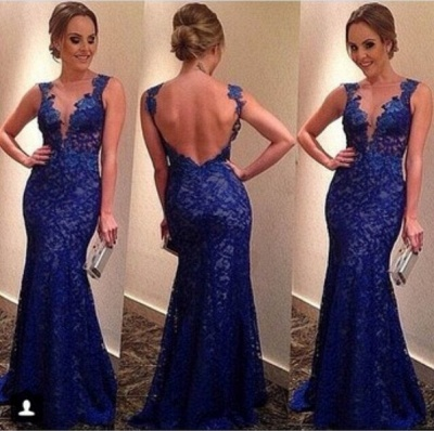 sexy backless Royal Blue Evening dresses 2020 V-neck Sleeveless Full Lace Prom gowns_2