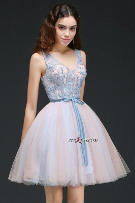 Fairy Sky-Blue V-Neck Puffy Flowers-Beaded Homecoming Dresses_2