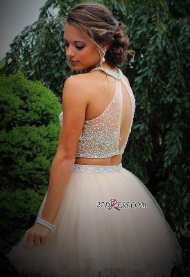 Short Champagne Halter Crystals Mini Discount Open-Back Two-Piece Organza Homecoming Dresses_3