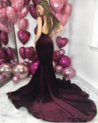Gorgeous Straps Mermaid Sleeveless Evening Dress | Backlesss 2020 Long Prom Gown On Sale_2