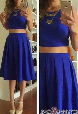 Knee-Length Short Royal-Blue Cute Sleeveless Two-Piece Homecoming Dresses_3