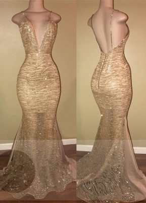 Sexy Gold Spaghetti Strap Mermaid Formal Dress | Open Back Prom Dress_1
