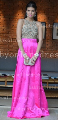 Pink Sexy Vestidos Vintage Prom Dresses Long Jewel Ruffles Evening Dresses With Beaded Crystal_1