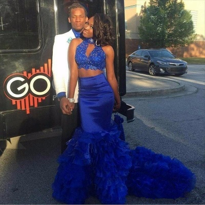 Royal blue mermaid prom dress, two pieces evening gowns 2020 BK0_3