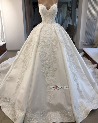 Ball-Gown Brilliant Sleeveless Sweetheart Appliques Wedding Dresses_3