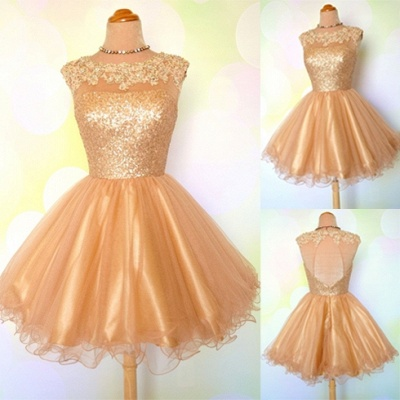Gold Sequins Appliques Shiny Short Puffy Homecoming Dresses_3