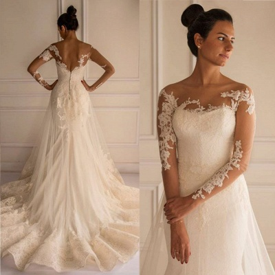 Chic Lace Appliques Mermaid Tulle Wedding Dress 2020 Court Train_2