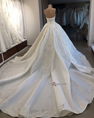 Ball-Gown Brilliant Sleeveless Sweetheart Appliques Wedding Dresses_2