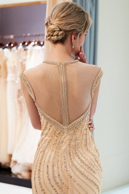 Glamorous Off-the-Shoulder Mermaid Gold Prom Dresses | 2020 Long Prom Gowns With Crystals_3