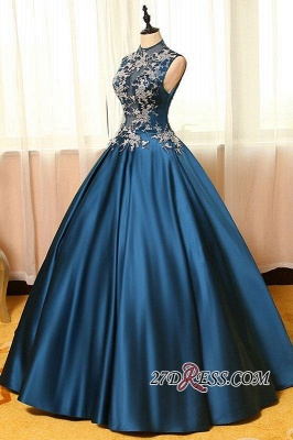 Lace Puffy Dresses Neck Dark Appliques Sleeveless Prom High Evening Dresses_3