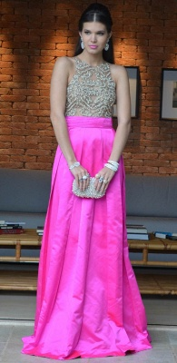 Pink Sexy Vestidos Vintage Prom Dresses Long Jewel Ruffles Evening Dresses With Beaded Crystal_4