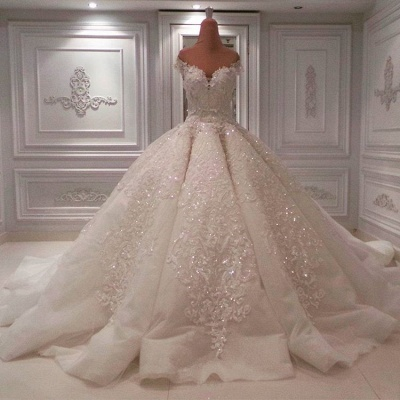 Elegant Off-the-Shoulder Sweetheart Sequins Bridal Gowns | Long Lace Appliques Ball Gown Wedding Dress On Sale_1