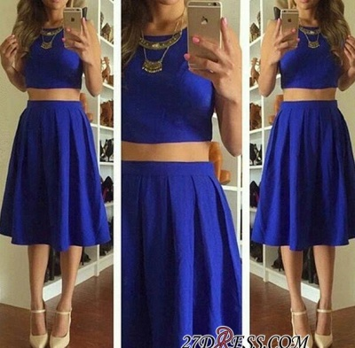 Knee-Length Short Royal-Blue Cute Sleeveless Two-Piece Homecoming Dresses_2