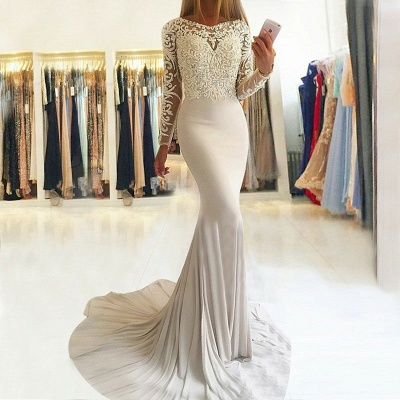 Elegant Long-Sleeve Lace Prom Dress | 2020 Mermaid Evening Party Gowns_3