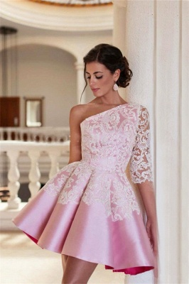 Lovely One Sleeve Lace Appliques Homecoming Dress 2020 Pink Short Prom Dress_1