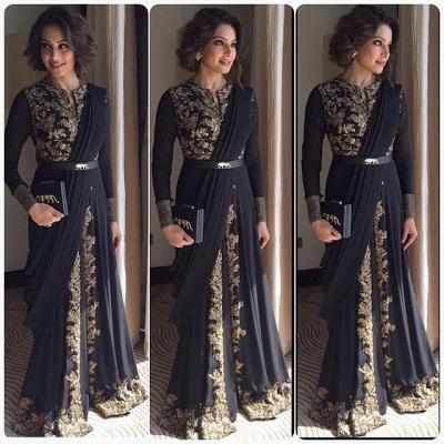 Elegant Long Sleeve Black Prom Dress With Appliques Floor-length_2