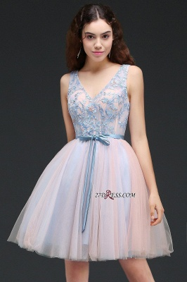 Fairy Sky-Blue V-Neck Puffy Flowers-Beaded Homecoming Dresses_6