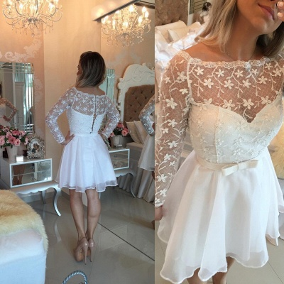 Beautiful White Lace Homecoming Dress 2020 Short Long Sleeve Cocktail Dress_3