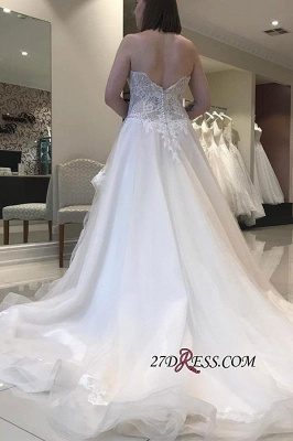 Luxury Applique Lace Tiered Backless Strapless A-line Sweetheart Wedding Dress_2