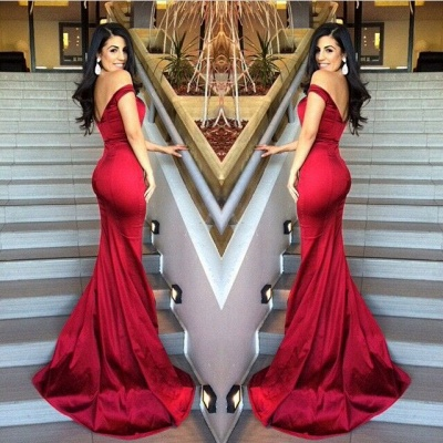 Off-the-shoulder Mermaid Evening Dress on Sale Sexy Red Womens_2